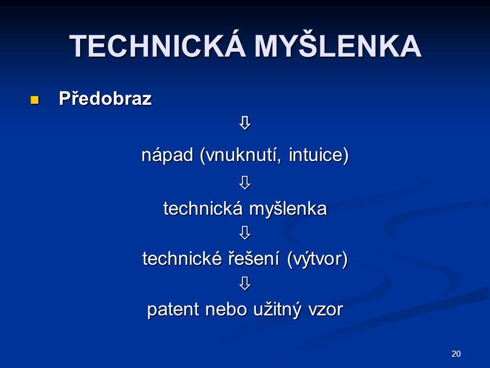 20 TECHNICKÁ MYŠLENKA Předobraz Předobraz nápad (vnuknutí, intuice)  technická myšlenka  technické řešení (výtvor)  patent nebo užitný vzor