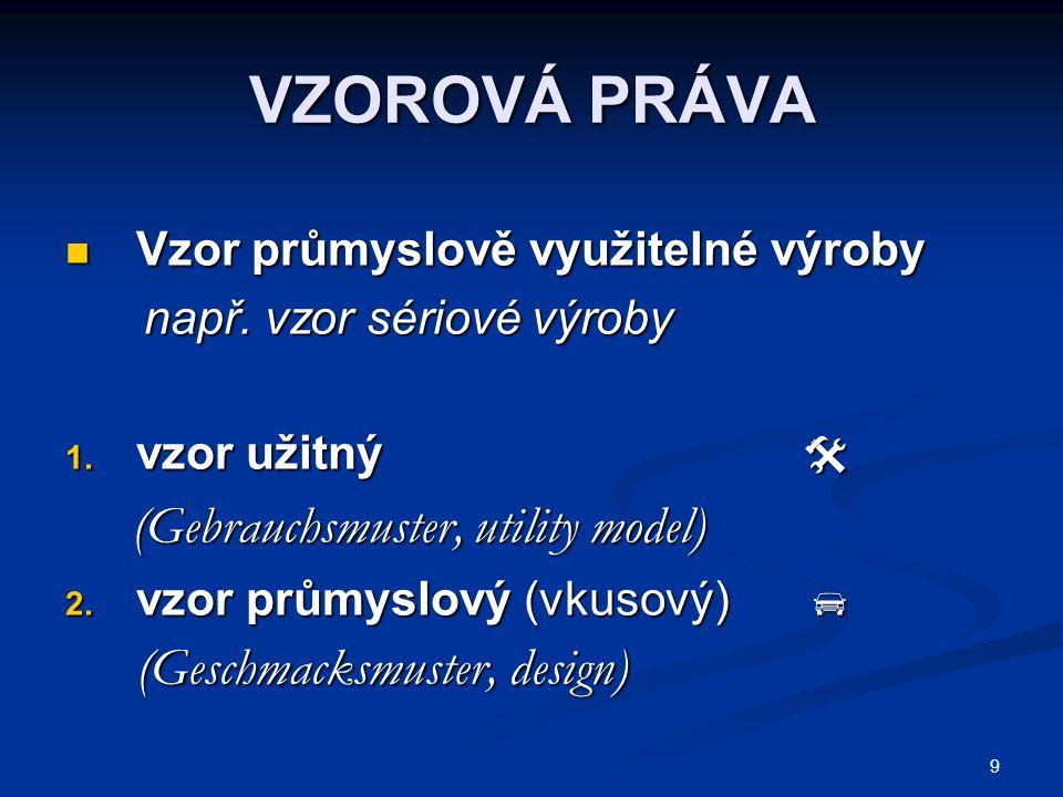 40 DRUHY SPRÁVNÍCH ŘÍZENÍ Správní úřad: ÚPV zák.o užit.