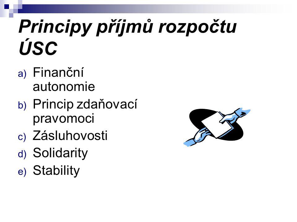 Principy příjmů rozpočtu ÚSC a) Finanční autonomie b) Princip zdaňovací pravomoci c) Zásluhovosti d) Solidarity e) Stability