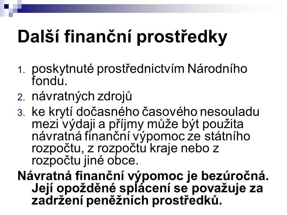 Další finanční prostředky 1. poskytnuté prostřednictvím Národního fondu. 2. návratných zdrojů 3. ke krytí dočasného časového nesouladu mezi výdaji a p