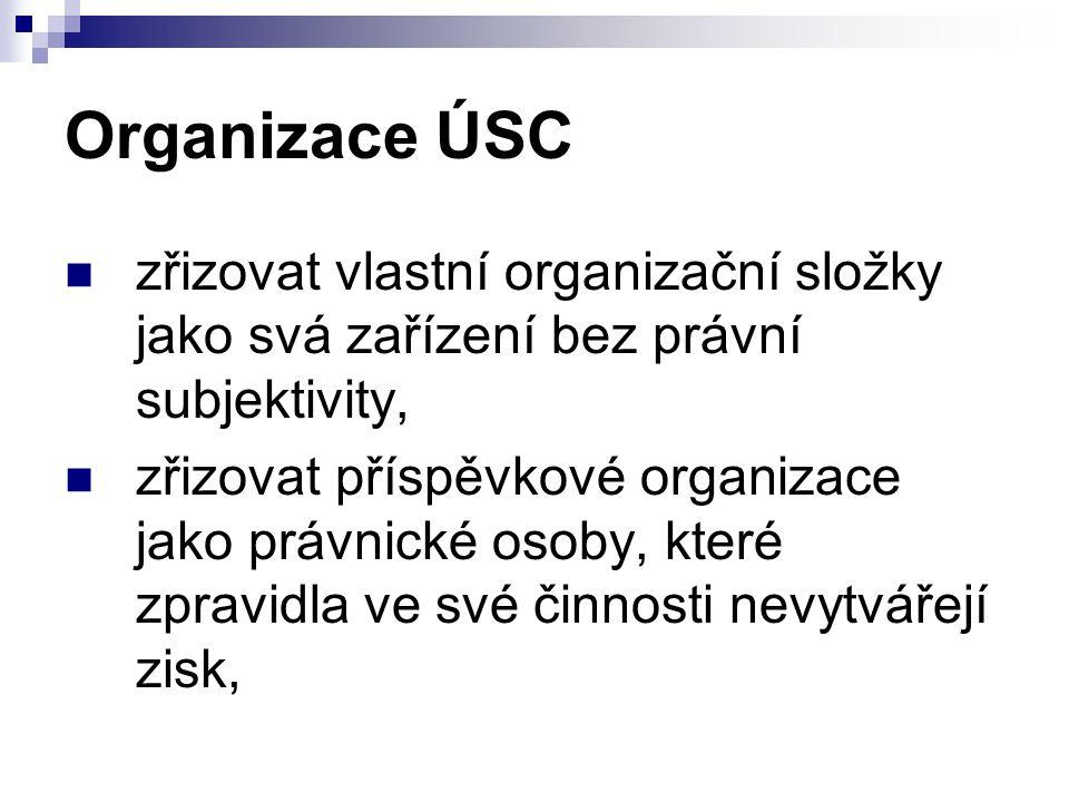 Organizace ÚSC zřizovat vlastní organizační složky jako svá zařízení bez právní subjektivity, zřizovat příspěvkové organizace jako právnické osoby, kt