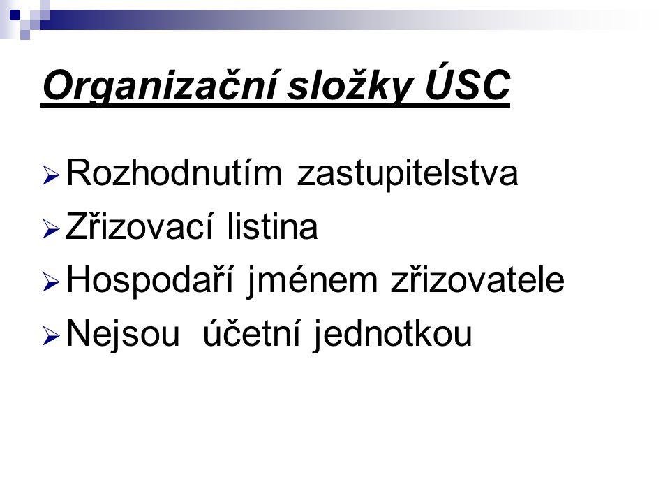Organizační složky ÚSC  Rozhodnutím zastupitelstva  Zřizovací listina  Hospodaří jménem zřizovatele  Nejsou účetní jednotkou