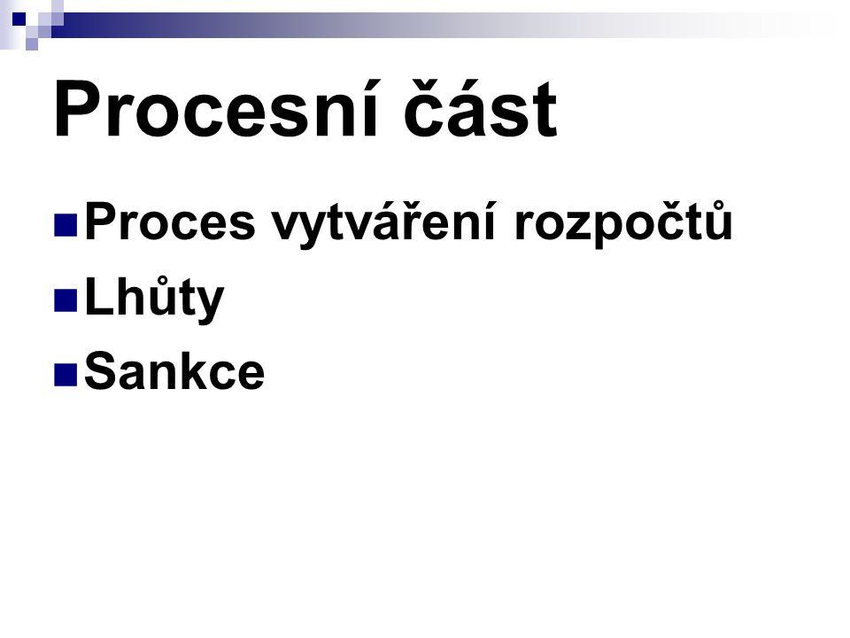 Procesní část Proces vytváření rozpočtů Lhůty Sankce