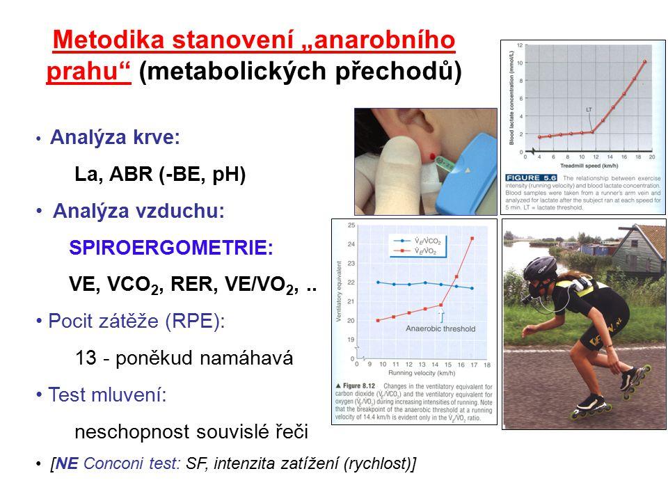 """Metodika stanovení """"anarobního prahu"""" (metabolických přechodů) Analýza krve: La, ABR (-BE, pH) Analýza vzduchu: SPIROERGOMETRIE: VE, VCO 2, RER, VE/VO"""