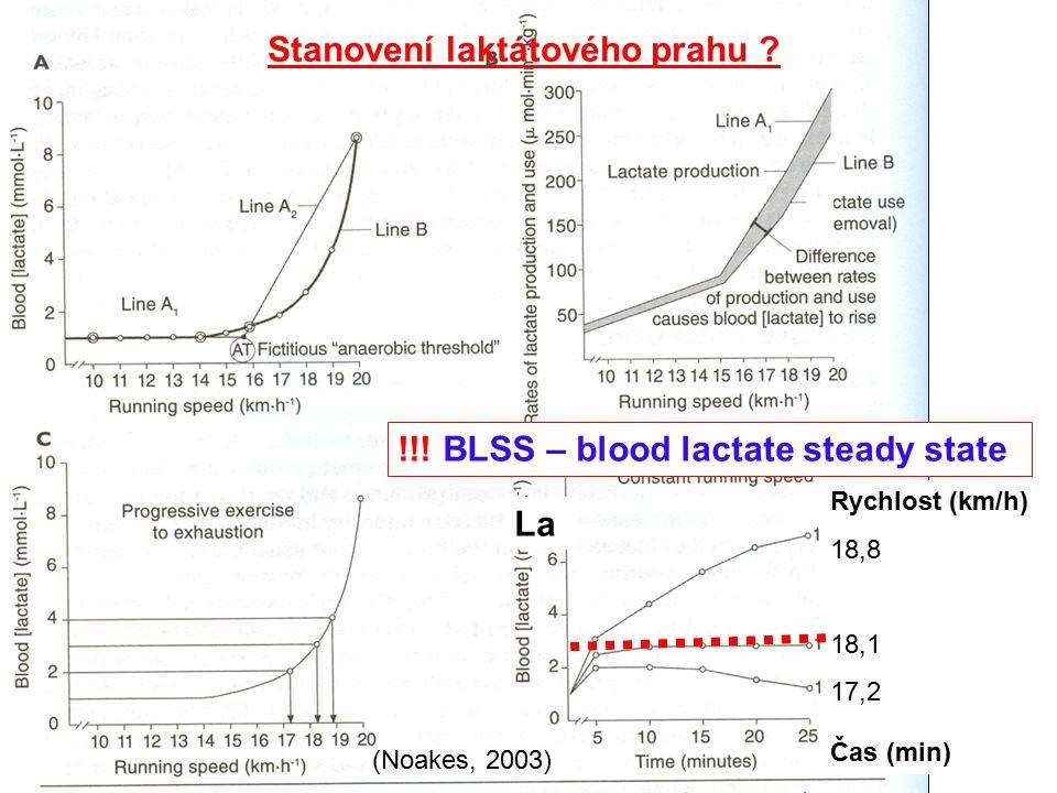 (Noakes, 2003) Stanovení laktátového prahu ? !!! BLSS – blood lactate steady state La Rychlost (km/h) 18,8 18,1 17,2 Čas (min)