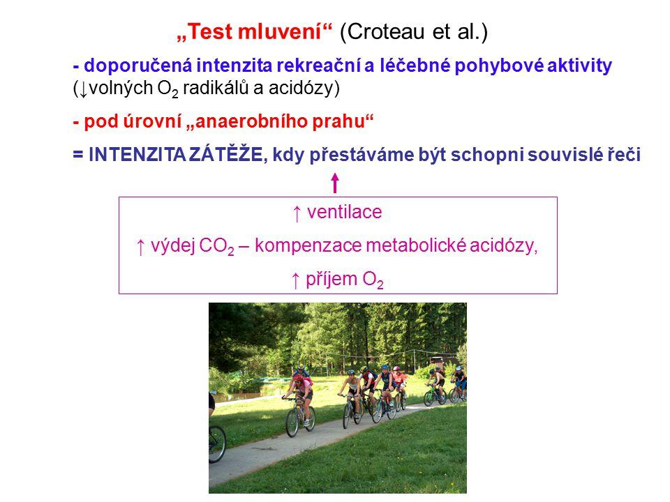 """""""Test mluvení"""" (Croteau et al.) ↑ ventilace ↑ výdej CO 2 – kompenzace metabolické acidózy, ↑ příjem O 2 - doporučená intenzita rekreační a léčebné poh"""