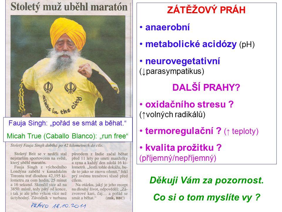 ZÁTĚŽOVÝ PRÁH anaerobní metabolické acidózy (pH) neurovegetativní (↓parasympatikus) DALŠÍ PRAHY? oxidačního stresu ? (↑volných radikálů) termoregulačn