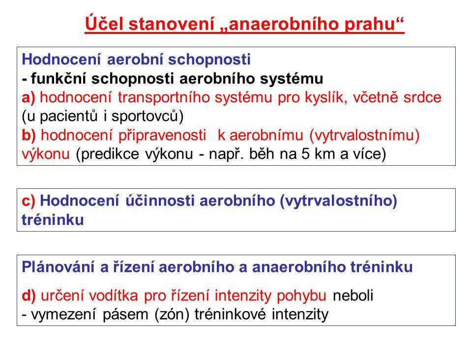 """Účel stanovení """"anaerobního prahu"""" Hodnocení aerobní schopnosti - funkční schopnosti aerobního systému a) hodnocení transportního systému pro kyslík,"""