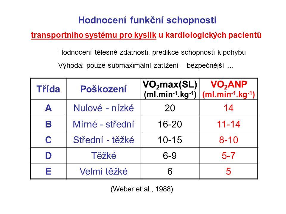 TřídaPoškození VO 2 max(SL) (ml.min -1.kg -1 ) VO 2 ANP (ml.min -1.kg -1 ) ANulové - nízké2014 BMírné - střední16-2011-14 CStřední - těžké10-158-10 DT