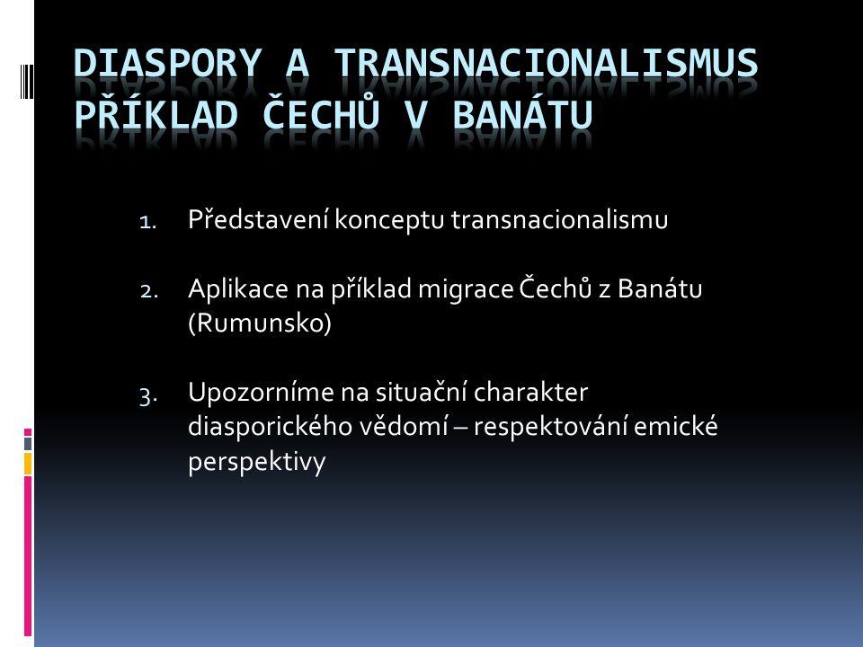 1. Představení konceptu transnacionalismu 2. Aplikace na příklad migrace Čechů z Banátu (Rumunsko) 3. Upozorníme na situační charakter diasporického v