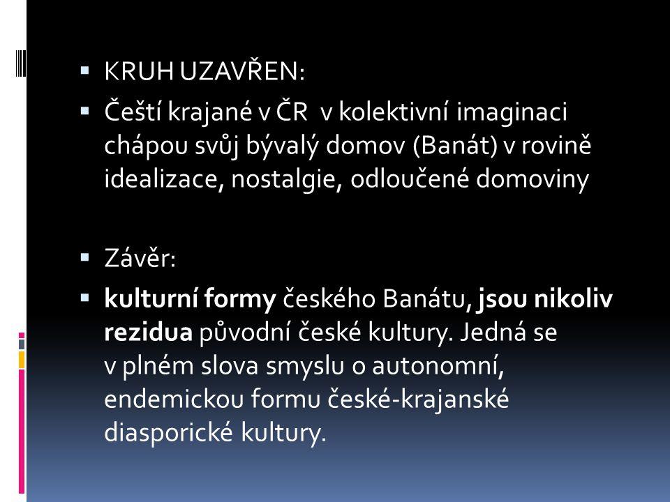  KRUH UZAVŘEN:  Čeští krajané v ČR v kolektivní imaginaci chápou svůj bývalý domov (Banát) v rovině idealizace, nostalgie, odloučené domoviny  Závě
