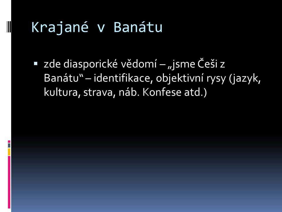 """Krajané v Banátu  zde diasporické vědomí – """"jsme Češi z Banátu"""" – identifikace, objektivní rysy (jazyk, kultura, strava, náb. Konfese atd.)"""