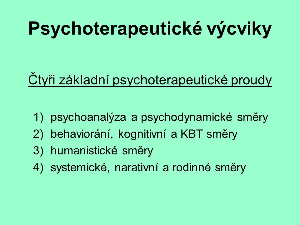 Psychoterapeutické výcviky Čtyři základní psychoterapeutické proudy 1)psychoanalýza a psychodynamické směry 2)behaviorání, kognitivní a KBT směry 3)humanistické směry 4)systemické, narativní a rodinné směry