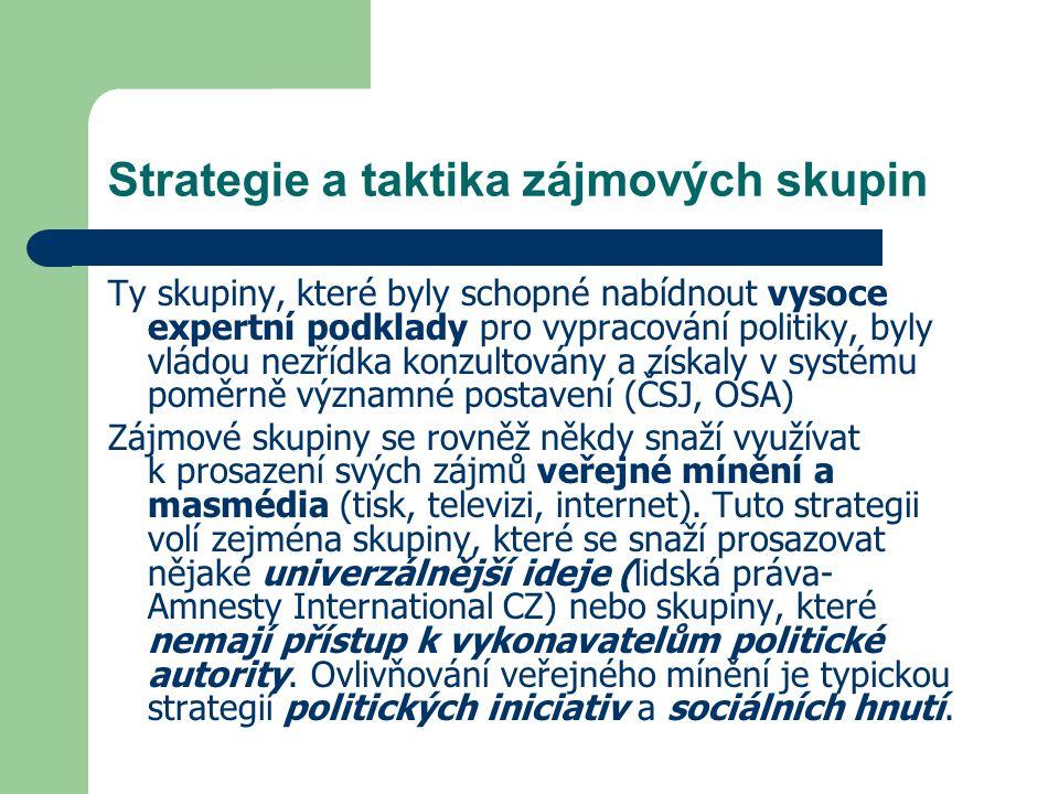 Strategie a taktika zájmových skupin Ty skupiny, které byly schopné nabídnout vysoce expertní podklady pro vypracování politiky, byly vládou nezřídka