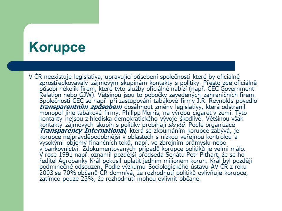 Korupce V ČR neexistuje legislativa, upravující působení společností které by oficiálně zprostředkovávaly zájmovým skupinám kontakty s politiky. Přest