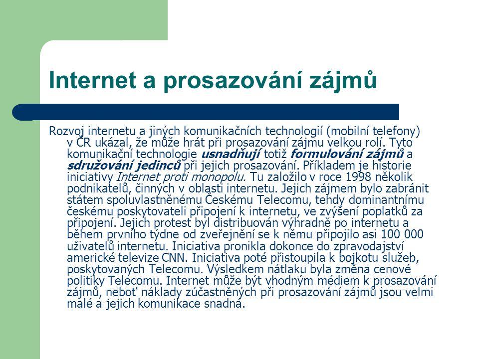 Internet a prosazování zájmů Rozvoj internetu a jiných komunikačních technologií (mobilní telefony) v ČR ukázal, že může hrát při prosazování zájmu ve