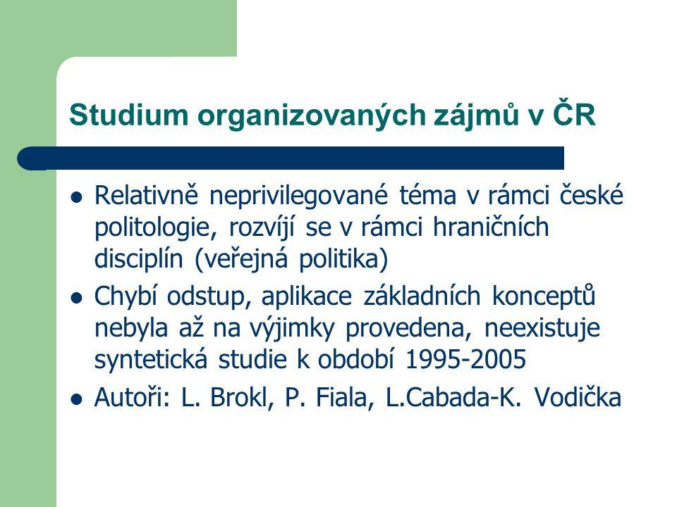 Studium organizovaných zájmů v ČR Relativně neprivilegované téma v rámci české politologie, rozvíjí se v rámci hraničních disciplín (veřejná politika)