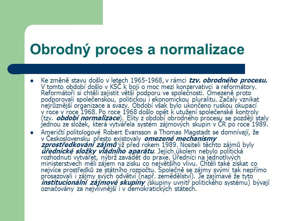 Obrodný proces a normalizace Ke změně stavu došlo v letech 1965-1968, v rámci tzv. obrodného procesu. V tomto období došlo v KSČ k boji o moc mezi kon