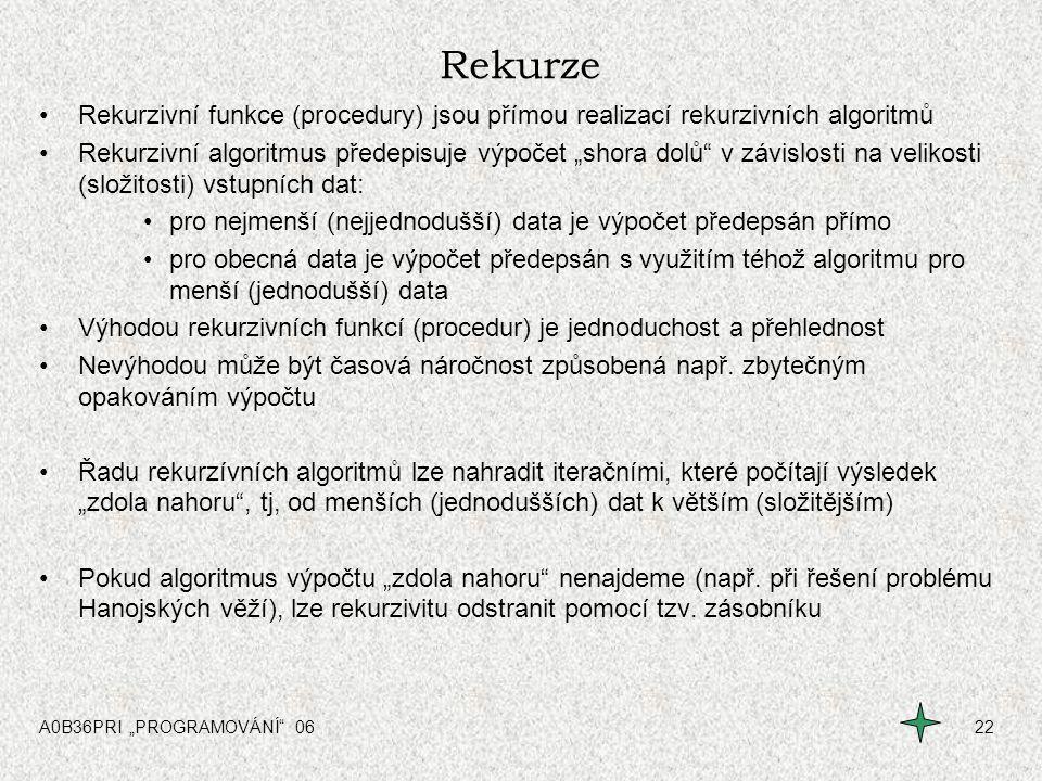 """A0B36PRI """"PROGRAMOVÁNÍ"""" 0622 Rekurze Rekurzivní funkce (procedury) jsou přímou realizací rekurzivních algoritmů Rekurzivní algoritmus předepisuje výpo"""