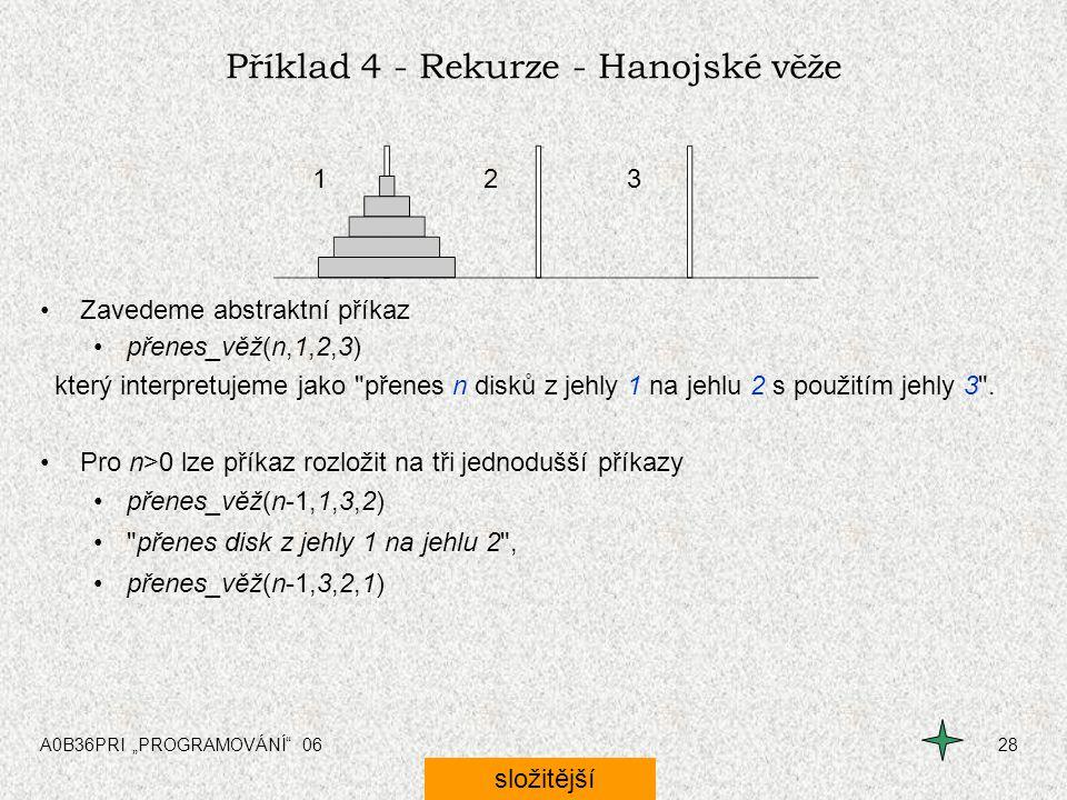 """A0B36PRI """"PROGRAMOVÁNÍ"""" 0628 Příklad 4 - Rekurze - Hanojské věže Zavedeme abstraktní příkaz přenes_věž(n,1,2,3) který interpretujeme jako"""