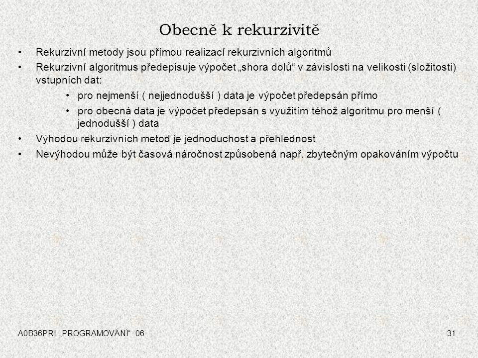 """A0B36PRI """"PROGRAMOVÁNÍ"""" 0631 Obecně k rekurzivitě Rekurzivní metody jsou přímou realizací rekurzivních algoritmů Rekurzivní algoritmus předepisuje výp"""
