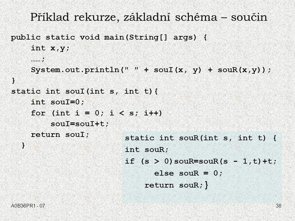 A0B36PR1 - 0738 Příklad rekurze, základní schéma – součin public static void main(String[] args) { int x,y; ……; System.out.println(