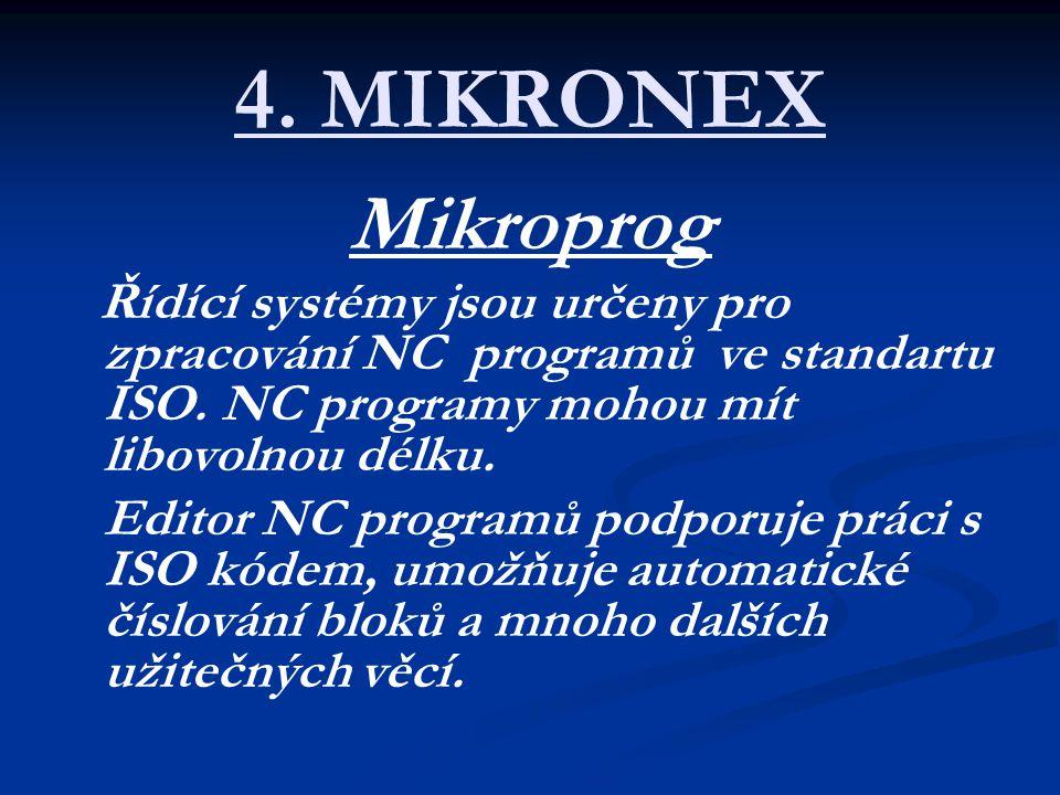 4. MIKRONEX Mikroprog Řídící systémy jsou určeny pro zpracování NC programů ve standartu ISO. NC programy mohou mít libovolnou délku. Editor NC progra