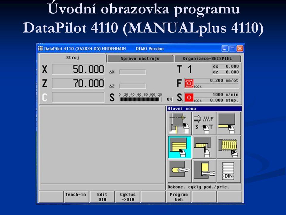 Úvodní obrazovka programu DataPilot 4110 (MANUALplus 4110)
