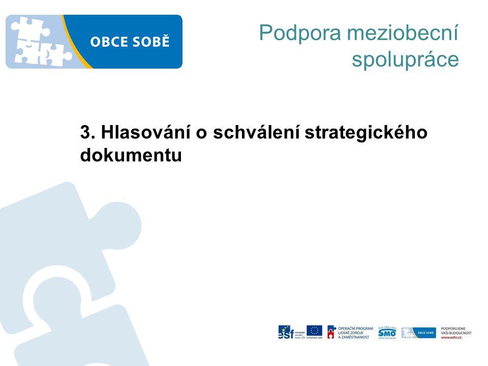 Podpora meziobecní spolupráce 3. Hlasování o schválení strategického dokumentu