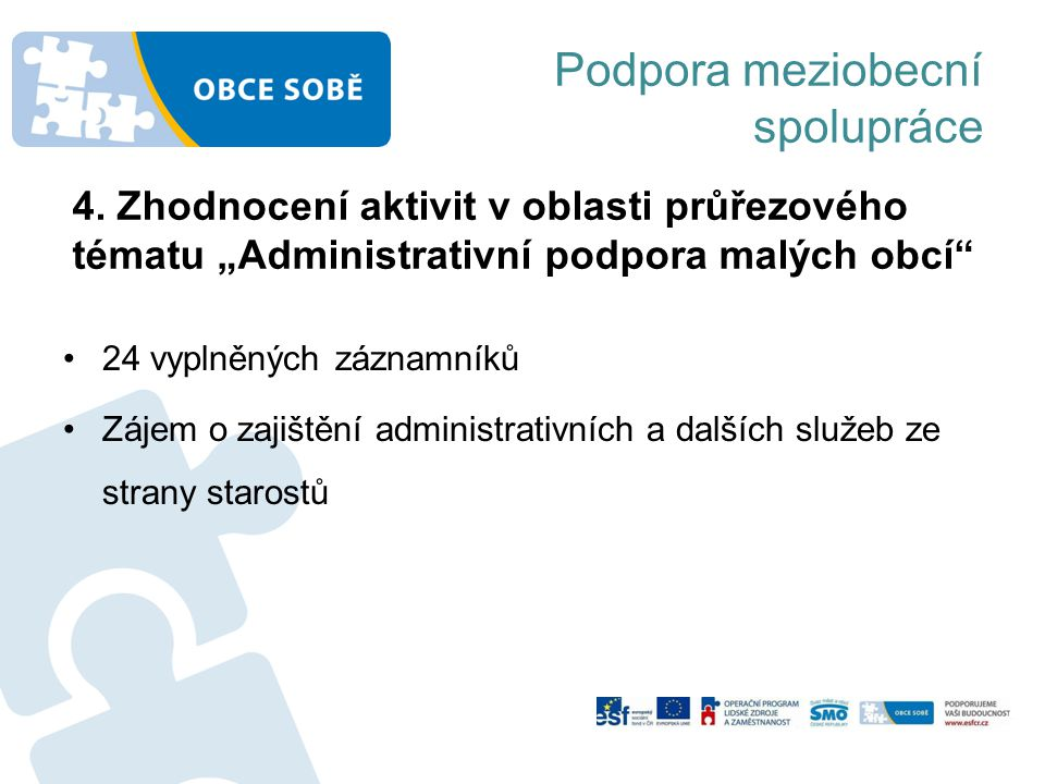 Podpora meziobecní spolupráce 24 vyplněných záznamníků Zájem o zajištění administrativních a dalších služeb ze strany starostů 4.