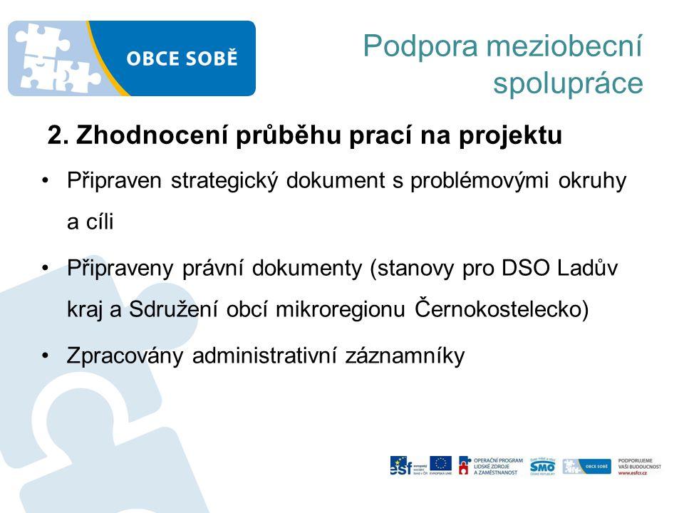 Podpora meziobecní spolupráce Připraven strategický dokument s problémovými okruhy a cíli Připraveny právní dokumenty (stanovy pro DSO Ladův kraj a Sdružení obcí mikroregionu Černokostelecko) Zpracovány administrativní záznamníky 2.