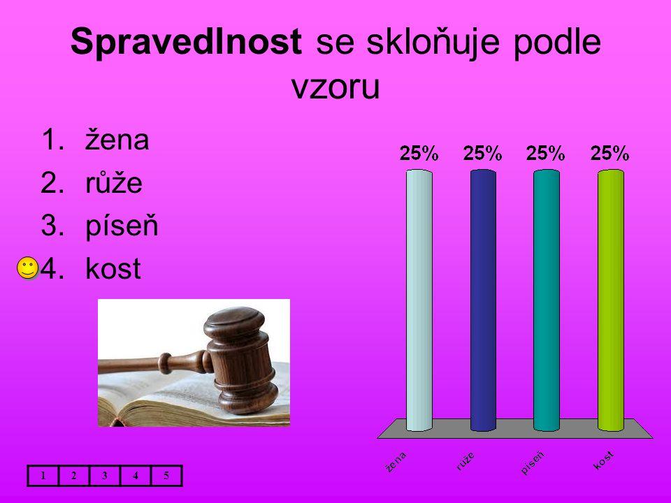 Spravedlnost se skloňuje podle vzoru 12345 1.žena 2.růže 3.píseň 4.kost
