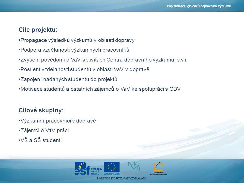 Cíle projektu: Propagace výsledků výzkumů v oblasti dopravy Podpora vzdělanosti výzkumných pracovníků Zvýšení povědomí o VaV aktivitách Centra dopravního výzkumu, v.v.i.