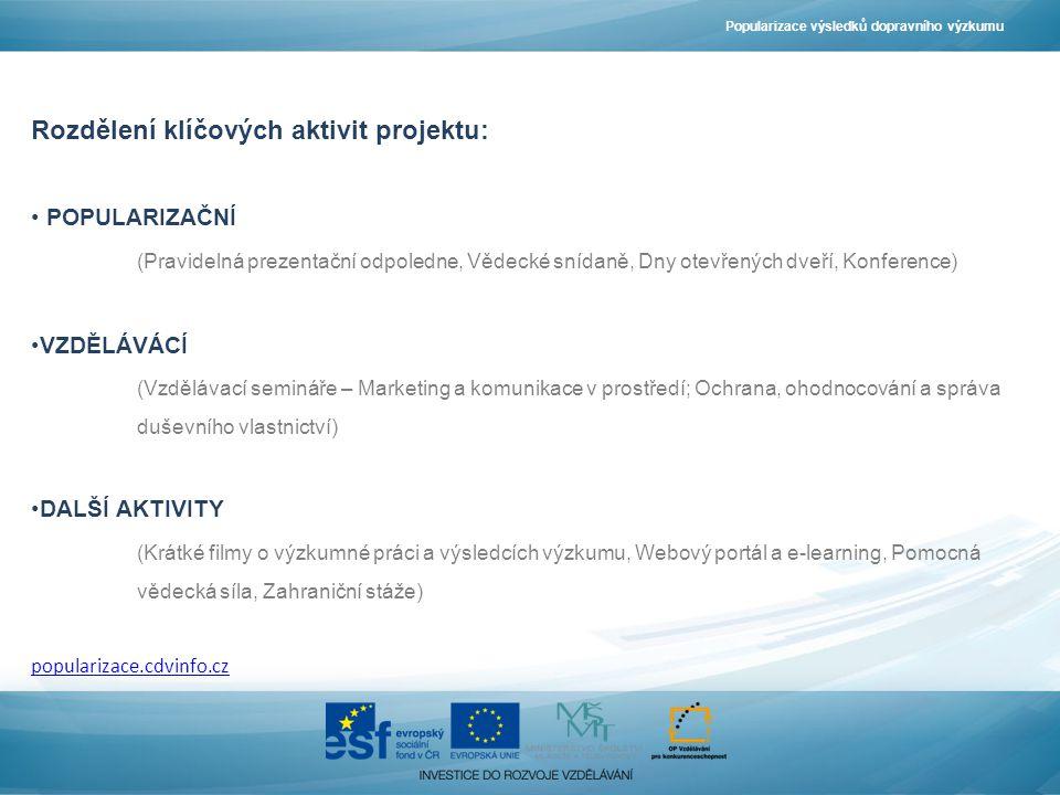 Rozdělení klíčových aktivit projektu: POPULARIZAČNÍ (Pravidelná prezentační odpoledne, Vědecké snídaně, Dny otevřených dveří, Konference) VZDĚLÁVÁCÍ (Vzdělávací semináře – Marketing a komunikace v prostředí; Ochrana, ohodnocování a správa duševního vlastnictví) DALŠÍ AKTIVITY (Krátké filmy o výzkumné práci a výsledcích výzkumu, Webový portál a e-learning, Pomocná vědecká síla, Zahraniční stáže) popularizace.cdvinfo.cz