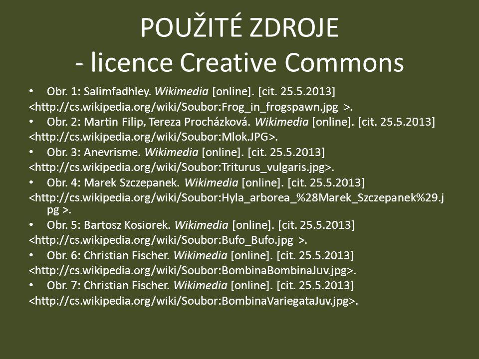 POUŽITÉ ZDROJE - licence Creative Commons Obr. 1: Salimfadhley. Wikimedia [online]. [cit. 25.5.2013]. Obr. 2: Martin Filip, Tereza Procházková. Wikime