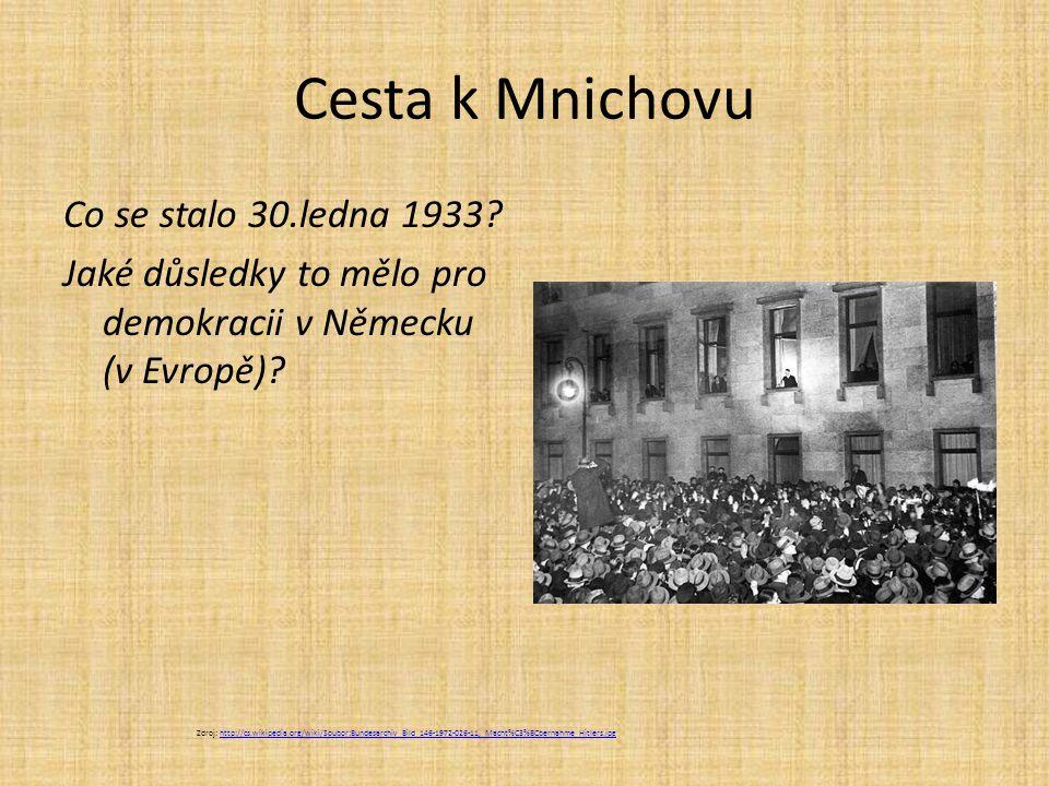 Nástup Hitlera k moci  30.ledna 1933 Hitler říšským kancléřem likvidace parlamentu zákaz politických stran (mimo NSDAP) pronásledování a likvidace opozice a Židů Zdroj: http://cs.wikipedia.org/wiki/Soubor:Reichsparteitagnov1935.jpghttp://cs.wikipedia.org/wiki/Soubor:Reichsparteitagnov1935.jpg