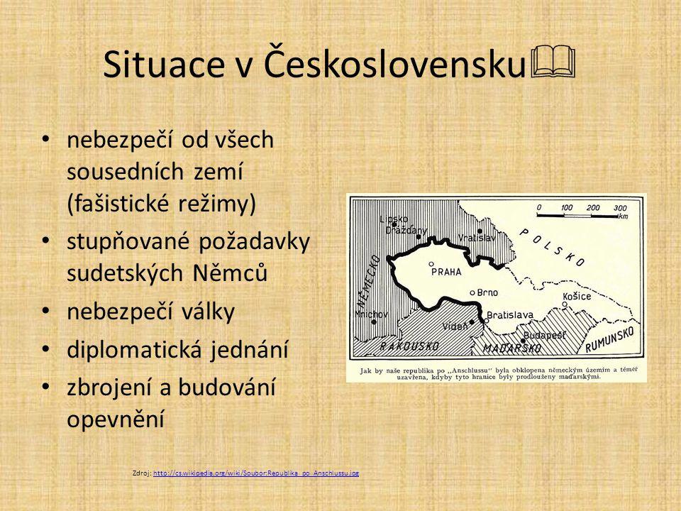 Situace v Československu  nebezpečí od všech sousedních zemí (fašistické režimy) stupňované požadavky sudetských Němců nebezpečí války diplomatická j