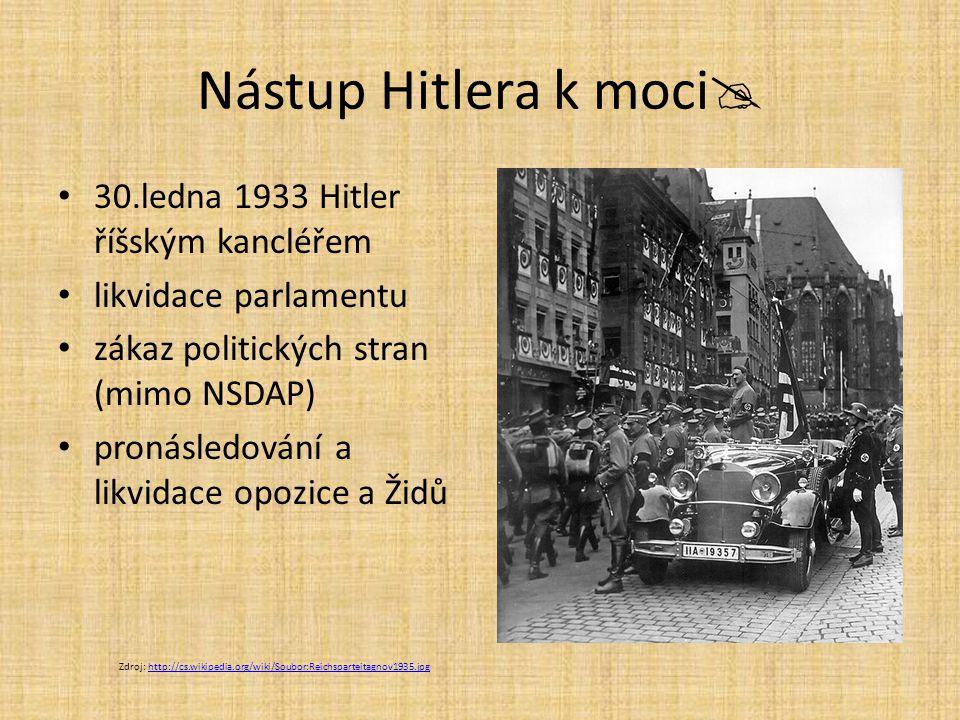 Nástup Hitlera k moci  30.ledna 1933 Hitler říšským kancléřem likvidace parlamentu zákaz politických stran (mimo NSDAP) pronásledování a likvidace op