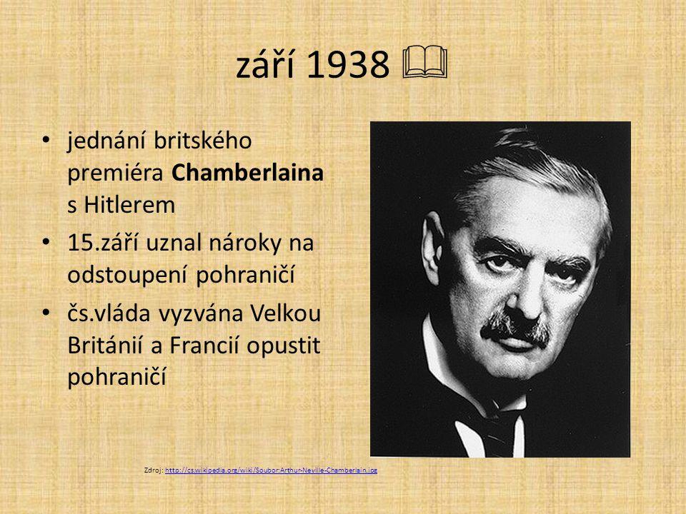 září 1938  jednání britského premiéra Chamberlaina s Hitlerem 15.září uznal nároky na odstoupení pohraničí čs.vláda vyzvána Velkou Británií a Francií