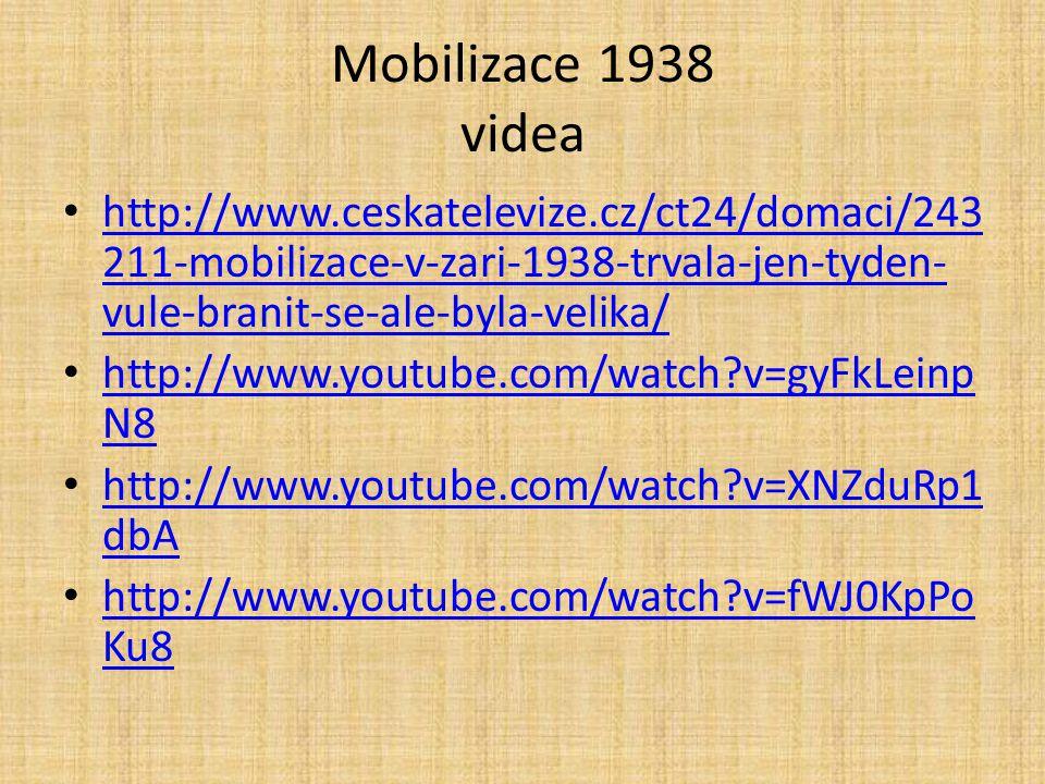 Mobilizace 1938 videa http://www.ceskatelevize.cz/ct24/domaci/243 211-mobilizace-v-zari-1938-trvala-jen-tyden- vule-branit-se-ale-byla-velika/ http://