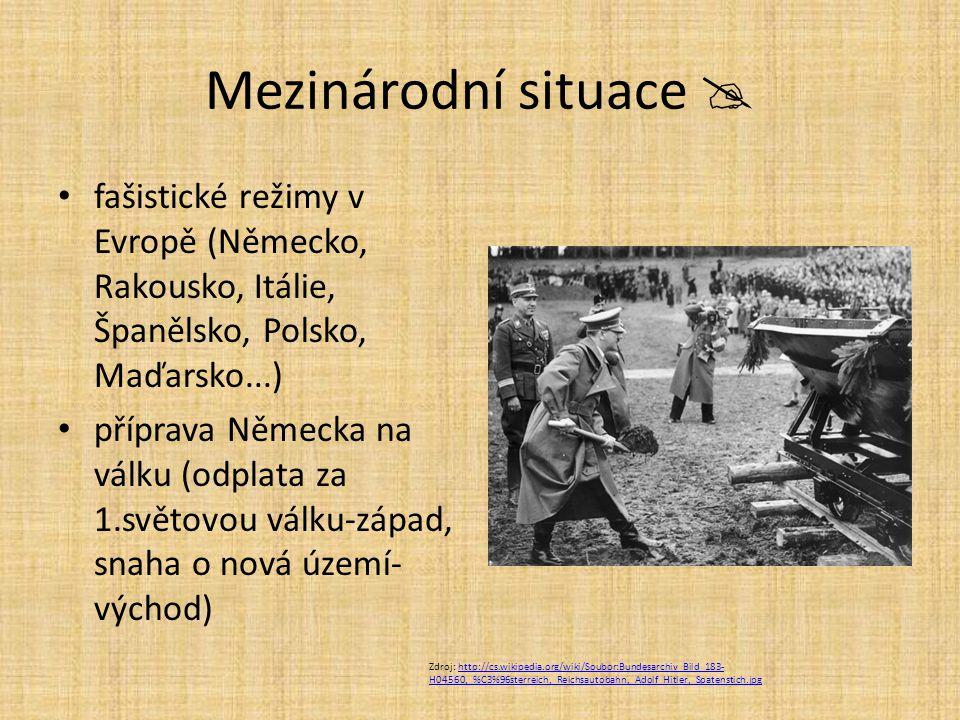 Mezinárodní situace  fašistické režimy v Evropě (Německo, Rakousko, Itálie, Španělsko, Polsko, Maďarsko...) příprava Německa na válku (odplata za 1.s