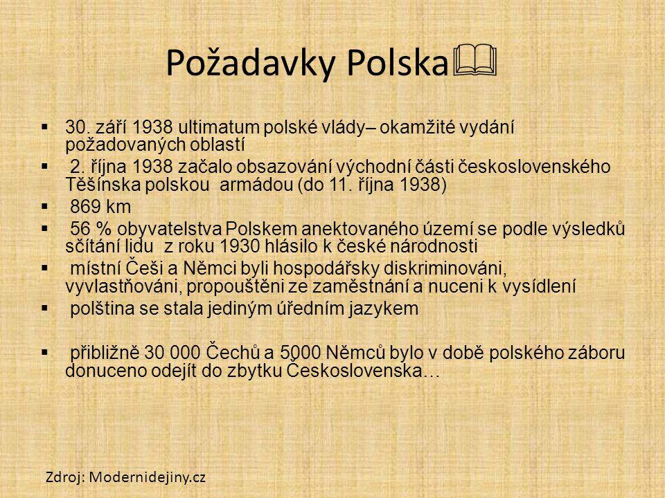 Požadavky Polska   30. září 1938 ultimatum polské vlády– okamžité vydání požadovaných oblastí  2. října 1938 začalo obsazování východní části česko