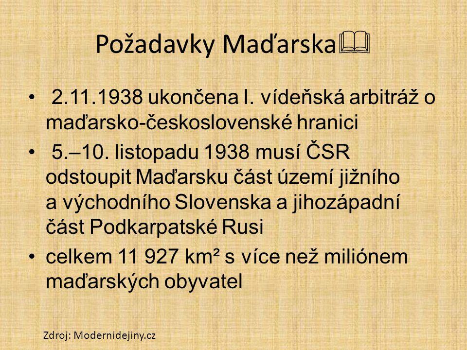 Požadavky Maďarska  2.11.1938 ukončena I. vídeňská arbitráž o maďarsko-československé hranici 5.–10. listopadu 1938 musí ČSR odstoupit Maďarsku část