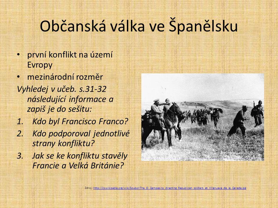 Občanská válka ve Španělsku první konflikt na území Evropy mezinárodní rozměr Vyhledej v učeb. s.31-32 následující informace a zapiš je do sešitu: 1.K