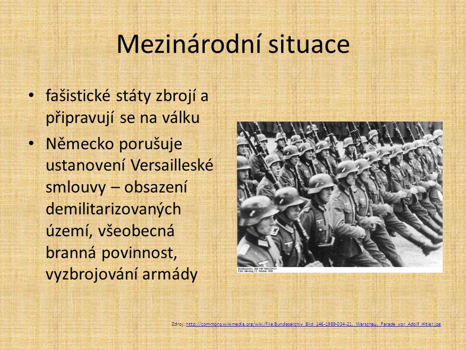 Reakce západních mocností  jen politická prohlášení a odsouzení snaha o usmíření s Hitlerem a dohodu o neútočení tzv.