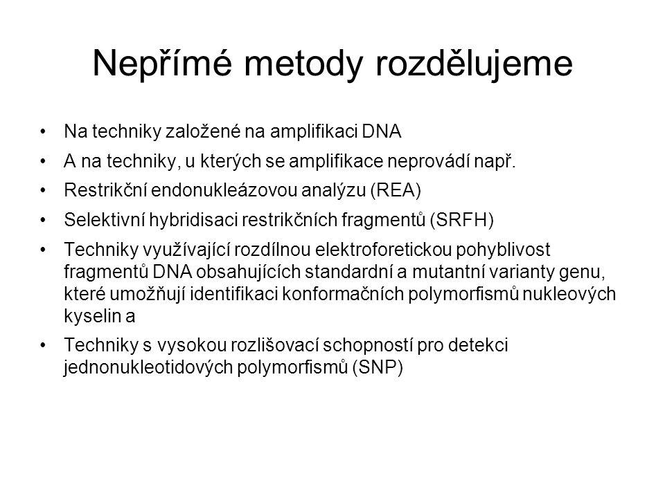 Nepřímé metody rozdělujeme Na techniky založené na amplifikaci DNA A na techniky, u kterých se amplifikace neprovádí např.