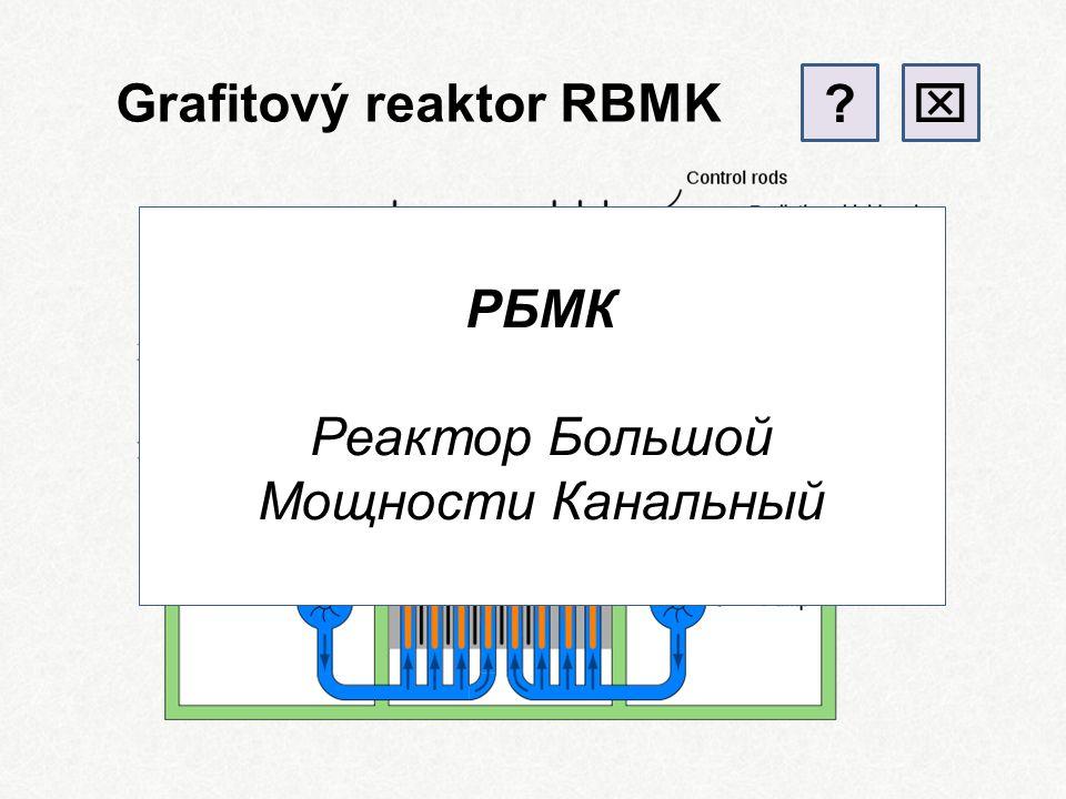 Grafitem moderovaný reaktor Graphite Moderated Reactor palivo: 235 U moderátor:grafit chlazení:voda / plyn tlaková nádoba:ano / ne + účinnost – menší bezpečnost