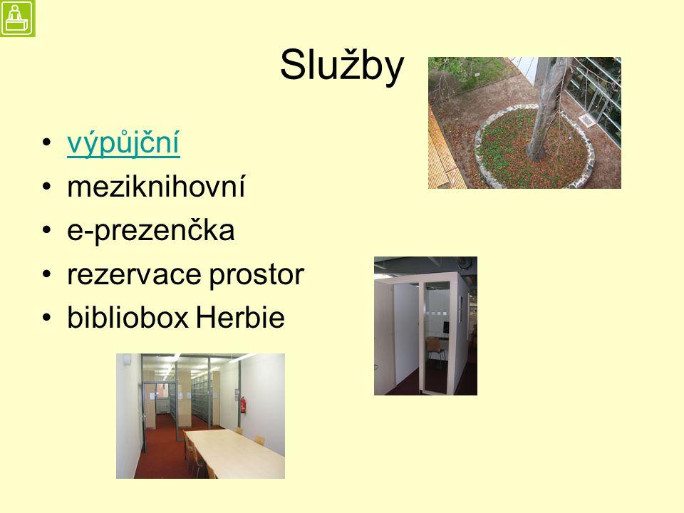 Služby výpůjční meziknihovní e-prezenčka rezervace prostor bibliobox Herbie