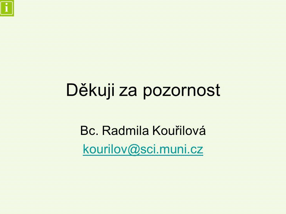 Děkuji za pozornost Bc. Radmila Kouřilová kourilov@sci.muni.cz