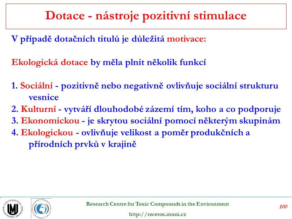 101 Research Centre for Toxic Compounds in the Environment http://recetox.muni.cz Nástroje regulace normativního charakteru, na kterých je historicky primárně založen systém přímé regulace ochrany životního prostředí zemí OECD, doplňuje využití ekonomických nástrojů ochrany životního prostředí.